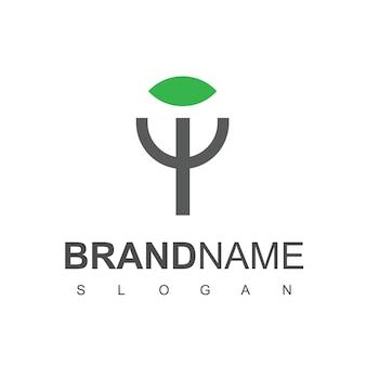 Fork and leaf logo design for diet and vegan food