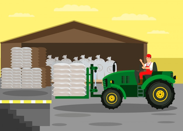 Fork lift tractor in warehouse vector illustration