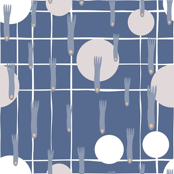 Fork and plate hand draw seamless pattern on blue background in minimal scandinavian style