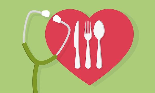 ハート型の素敵な食べ物のロゴと聴診器の医療コンセプトを持つフォークスプーンとナイフ。カトラリーサイン。