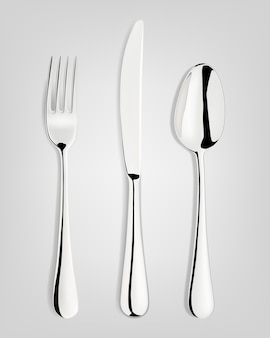 Fork, spoon and knife.