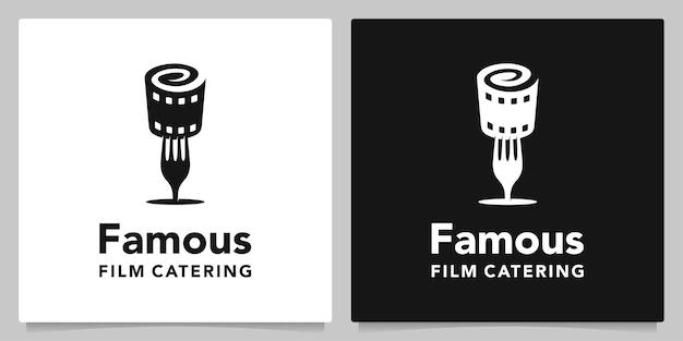 Вилка для фотопленки, кинолента дизайн логотипа для креативной концепции ресторана
