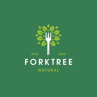 Fork tree vintage logo template