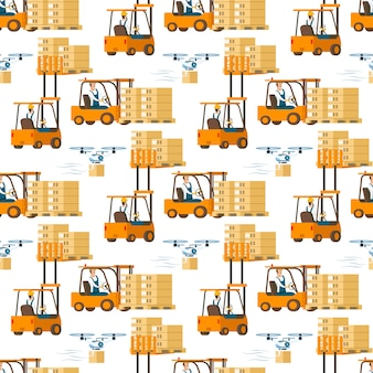 Forklift car full of box and flying drone pattern
