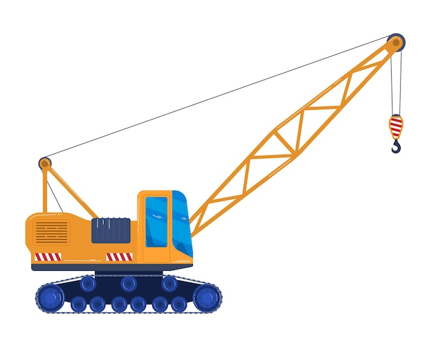 Forklift car industrial bulldozer in flat style