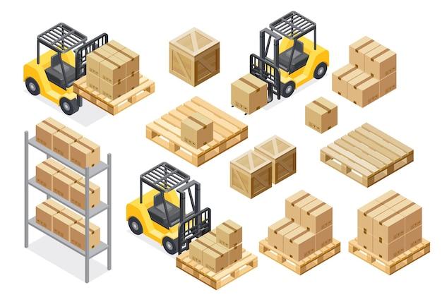 Forklift cargo truck delivery illustration equipment warehouse