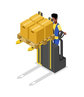 Forklift cart loading boxes isometric 3d illustration