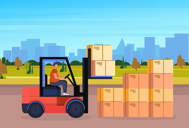 Forklift driver loader pallet stacker truck equipment warehouse cityscape background delivery concept