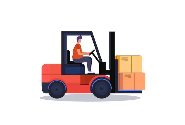 Forklift driver loader pallet stacker truck equipment warehouse delivery concept