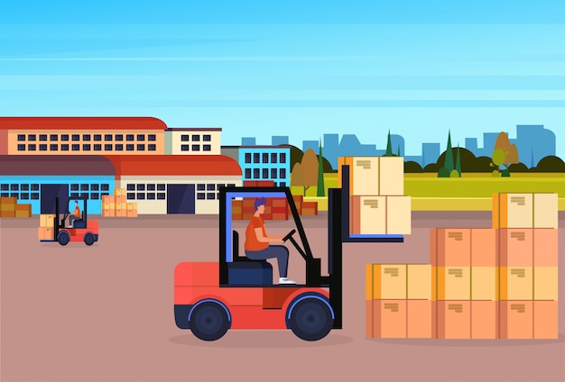 Forklift driver loader pallet stacker truck equipment warehouse yard exterior delivery concept
