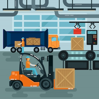 Forklift inside factory. cargo industry. heavy transportation. warehouse conveyor.
