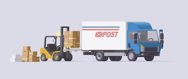 Вилочный погрузчик, поднимающий груз в грузовик