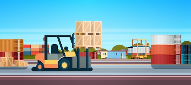Forklift loader pallet stacker truck equipment warehouse international delivery concept