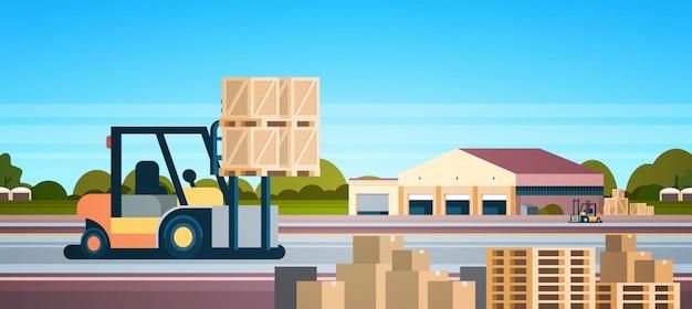 フォークリフトローダーパレットスタッカートラック機器倉庫国際配送コンセプト