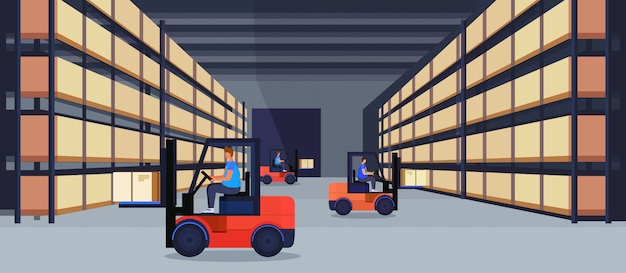 Forklift loader working warehouse interior parcel box on rack logistic delivery cargo service concept