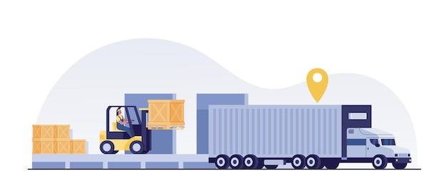 Вилочный погрузчик загружает ящики для поддонов в прицеп-контейнеровоз.