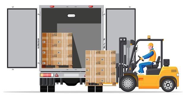 Вилочный погрузчик, загружающий ящики для поддонов в грузовик, вид сзади. электрический загрузчик, загружающий картонные коробки в транспортное средство. логистика и доставка грузов. складское складское оборудование. плоские векторные иллюстрации