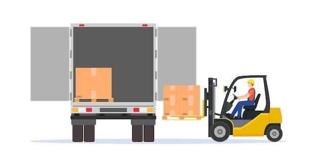 フォークリフトがパレットボックスをトラックに積み込みます。