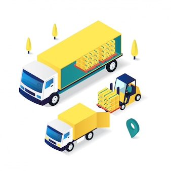 Forklift moving goods delivery service flat 3d isometric illustration