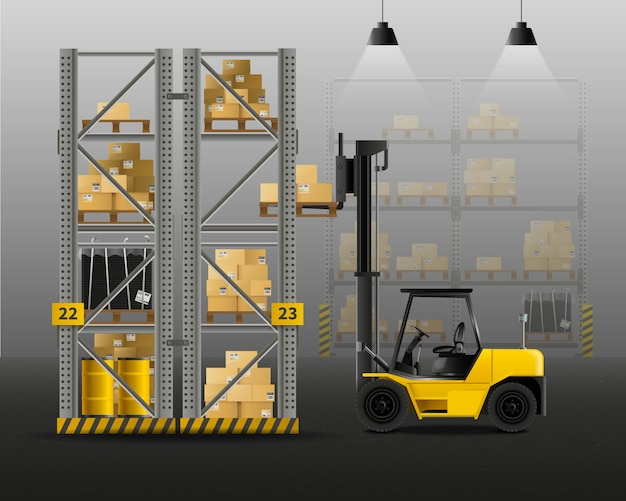 Forklift realistic composition