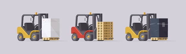 Forklift set.  forklifts with cargo on light background. collection
