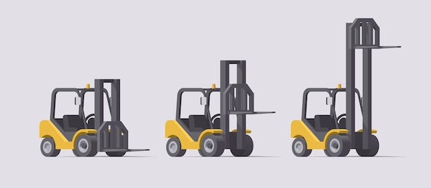 Forklift set.  forklifts with different fork positions on light background. collection