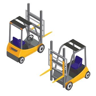 Forklift transport isometric transportation