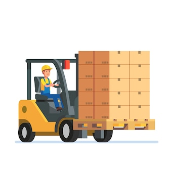 Forklift truck carrying a stacked boxes pallet