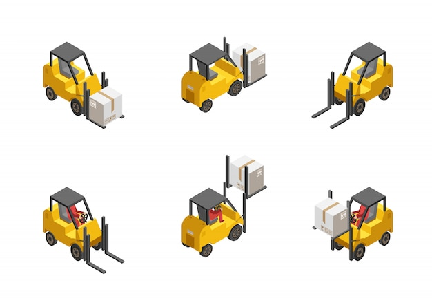 Forklift truck set Free Vector