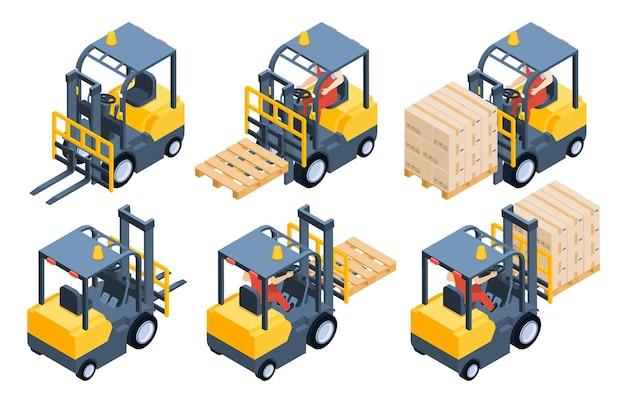 フォークリフト、貯蔵設備、貯蔵ラック、箱付きパレット。商品の輸送と持ち上げのための車両。背面図と正面図、カートンベクトルイラストとトラックを運転する労働者