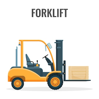 Forklift truck with cargo icon.