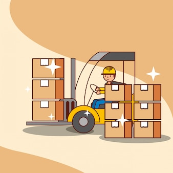 Forklift truck with man driving loading cardboard boxes