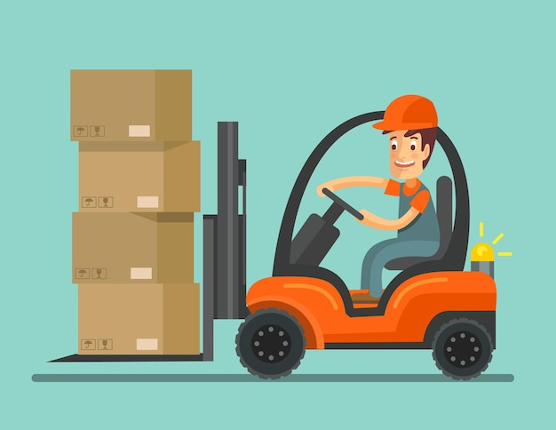 Forklift truck with worker.