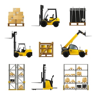 Forklift and warehouse realistic icons set