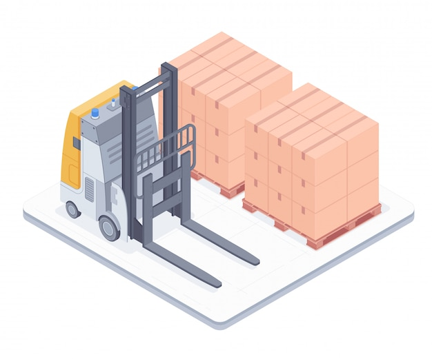 Forklift with boxes on pallets isometric illustration