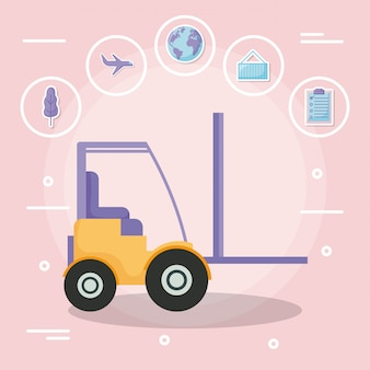 Forklift with delivery service with icon set
