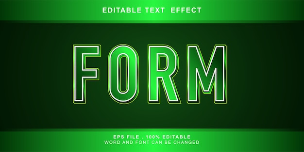 Form text effect editable illustration