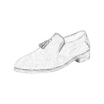 Formal boot illustration in hand drawn vector