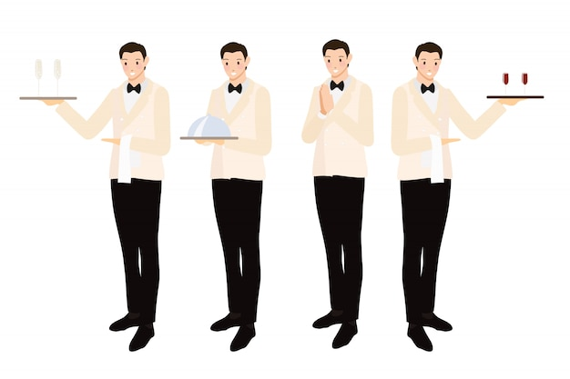 Formal luxury dinner waiter collection  flat style