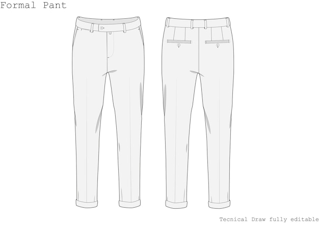 Formal pants technical hand draw