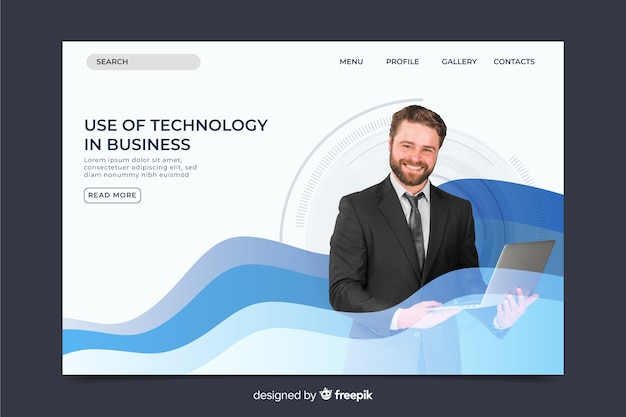 Formal technology landing page with photo and waves