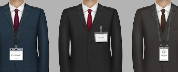 Formally dressed in classic suit businessman with name tag id badge holder on strap clip