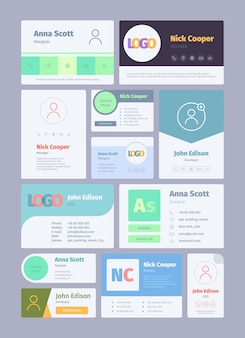 Forms for email signature. business card for email authors emailer designs web ui garish vector template. email signature, mail business profile illustration
