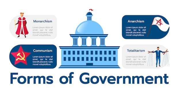 Формы правительства инфографики шаблон. монархизм и тоталитаризм. политические системы плакат, концепция буклета с иллюстрациями. рекламный флаер с идеей макета рабочего процесса