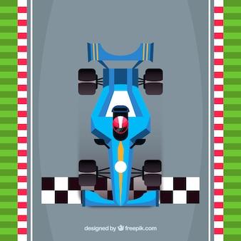 Formula 1 car crossing finish line