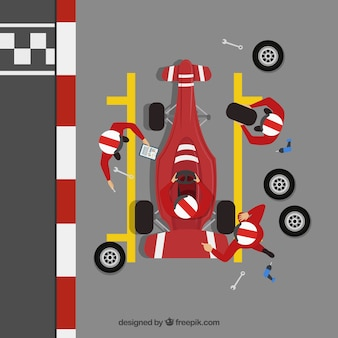 Formula 1 pit stop workers with flat design