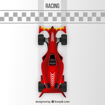 Formula 1 racing car crossing finish line from above