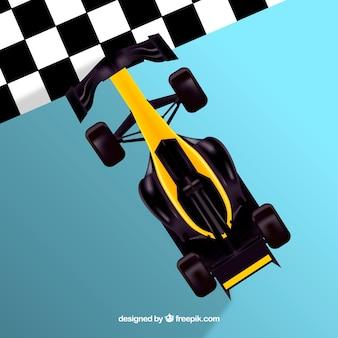 Formula 1 racing car crossing finish line