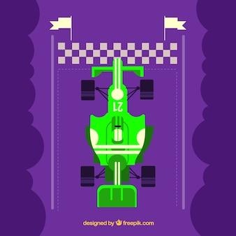 Formula 1 racing car at finish line with flat design