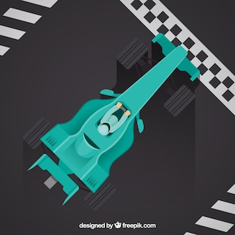 Formula 1 racing car at the finish line with top view